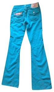 True Religion Dye And Stone Flare Pants Blue Corduroy