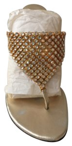 Stuart Weitzman Sandal Slip On Gold Sandals