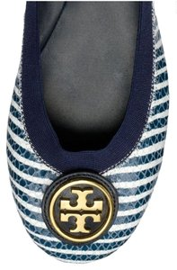 Tory Burch Ballet Ballerina New In Box Navy & White Flats