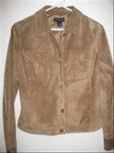 Ann Taylor Suede Tan Leather Jacket