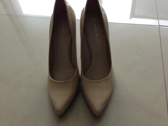 Nine West Leather Patent Leather Beige, Nude Pumps