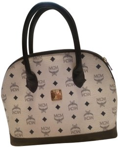 MCM Satchel in White/Blue
