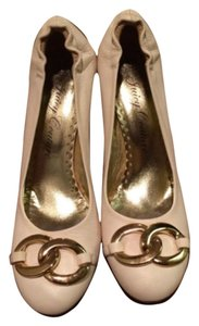 Juicy Couture Gold Leather Round Toe White Pumps