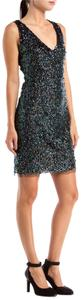 Reem Acra Cocktail Sequins Sequin Vneck V-neck Mini Dress