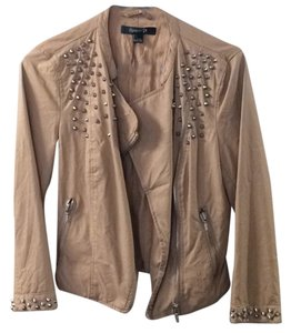 Forever 21 Leather Faux Leather Studded Tan Leather Jacket