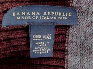 Banana Republic Wool Blend Italian Yarn Gray Burgundy
