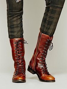 Bed|Stü Region Medallion Distressed Tan-saddle 9.5 Combat Boots