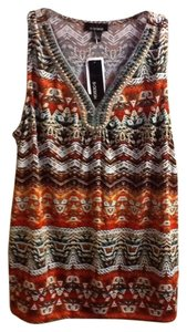 B Design Beaded Sleeveless Comfortable Casual Colorful V-neck Office Professional Work Spring Summer Geometric Top Brown/Orange