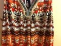 B Design Beaded Sleeveless Comfortable Casual Colorful V-neck Office Professional Work Spring Summer Geometric Top Brown/Orange Image 3