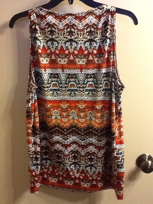 B Design Beaded Sleeveless Comfortable Casual Colorful V-neck Office Professional Work Spring Summer Geometric Top Brown/Orange Image 6