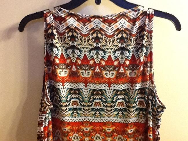 B Design Beaded Sleeveless Comfortable Casual Colorful V-neck Office Professional Work Spring Summer Geometric Top Brown/Orange Image 8