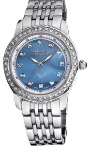 August Steiner Authentic Blue Mother Of Pearl Diamond Watch