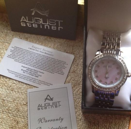 August Steiner Authentic Mother Of Pearl Diamond Pink Watch