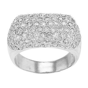 14k White Gold Cttw Diamonds Pave Setting Unisex Ring