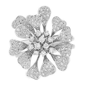 14k White Gold 1.60 Cttw Round Cut Diamonds Flower Womens Ring