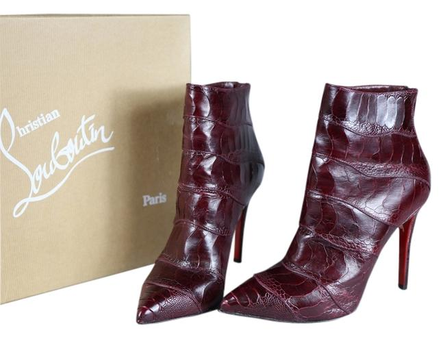 Item - Red * Dark Ostrich Legs Ankle Boots/Booties Size US 9.5 Regular (M, B)