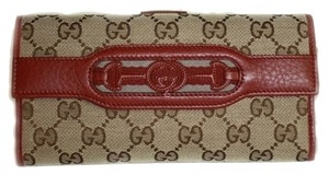 Gucci Gucci Wallet Beige and Red Leather 295351