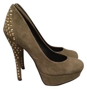 Kelsi Dagger Studded Gold Hardware Suede Olive Green Pumps
