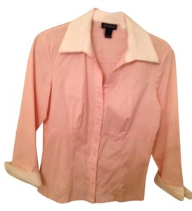 Ann Taylor Cuffs Button Down Shirt Pink and White