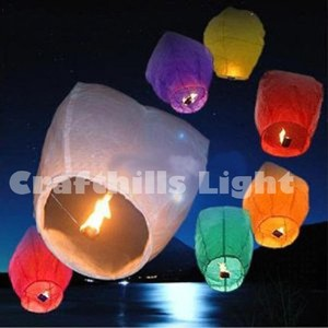 Mixed Color 100 Pcs Of Sky Kongming Flying Wishing Paper Lanterns For Wedding Floral Party Event Festival Decoration