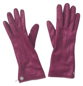 Coach Coach Fuchsia Leather Gloves