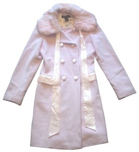 Arden B. Rabbit Fur Trim Pea Coat