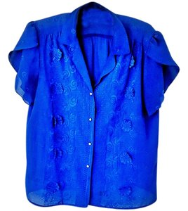 Tiffany Designs Embroidered Embellished Top electric blue