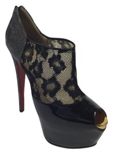 Christian Louboutin Leopard Patent Leather Black/Gold Platforms