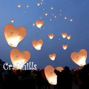 40 Pcs White Color Heart Shape Sky Kongming Flying Wishing Paper Lanterns For Wedding Floral Party Decoration Supplies