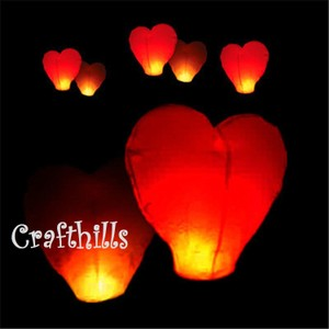 Red 40 Pcs Color Heart Shape Sky Kongming Flying Wishing Paper Lanterns For Wedding Floral Party Decoration Supplies