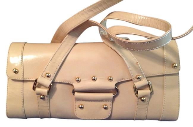 Item - Brown Small Light Beige Cream Leather with Finish Shoulder Bag
