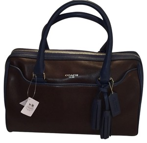 Coach Satchel in Midnight Blue And Brown