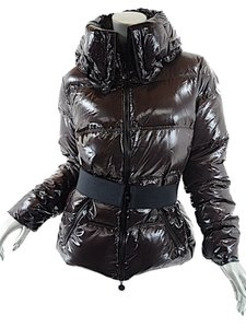 Moncler Shiny Down Belted Hood Coat