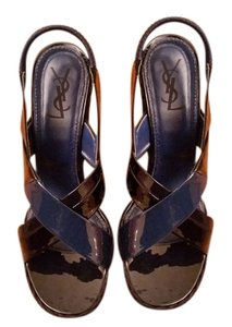 Saint Laurent Ysl Heels Heel Designer Sandal Vintage blue & black Wedges