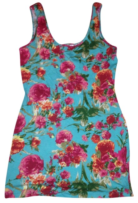 Item - Turquoise Bodycon Floral Tight Mini Short Casual Dress Size 12 (L)