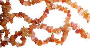 Genuine carnelian gemstone chip 70s hippy chic boho style metaphysical crystal gem jewel necklace