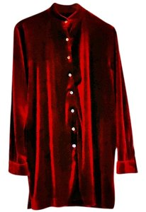 Other Velvet Classic Button Down Shirt burgundy