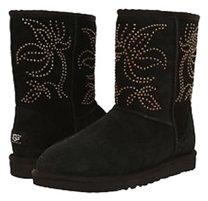 UGG Australia Studded Suede Shearling Black Boots