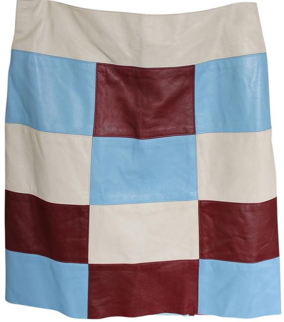 Illia Leather Skirt Burgandy, Creme, Lt. Blue Patchwork