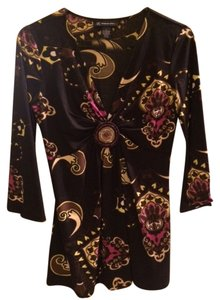 INC International Concepts Beaded Polyester Top Black with pattern