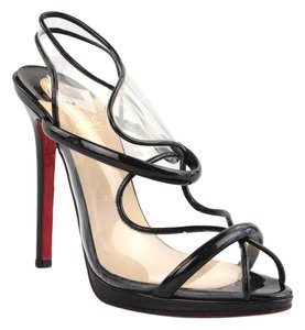 Christian Louboutin Aqua Ronda Pvc Patent Leather Transparent Black Sandals