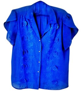 House of Wu Bright Embellished Embroidered Machine Washable Top electric blue