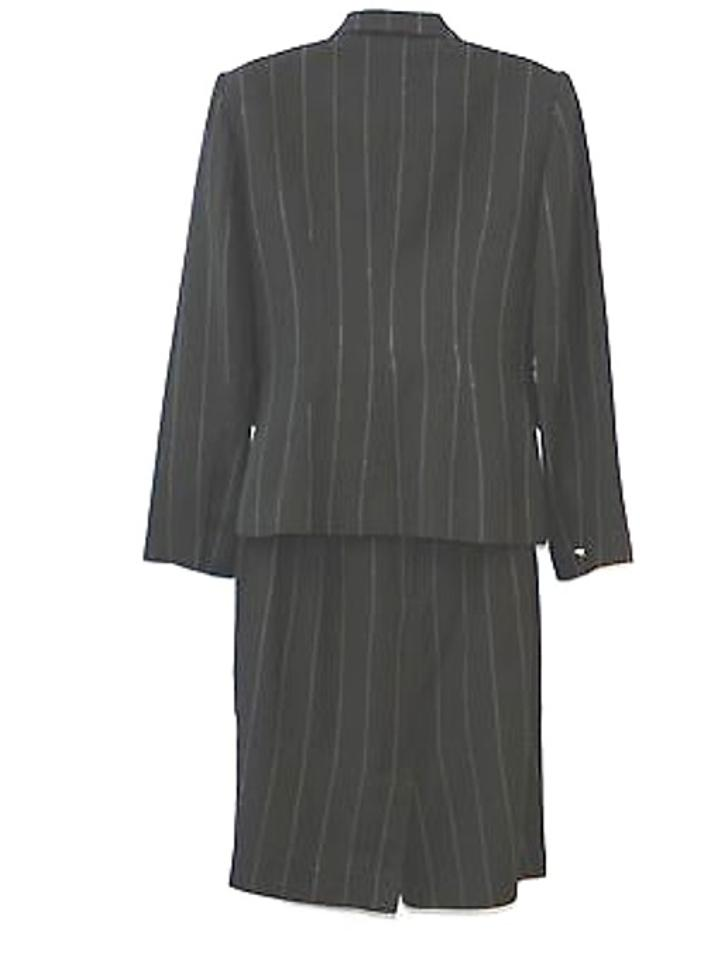 a9910da8d19 Alberto Makali Black Striped Double Breasted Skirt Suit Size 8 (M)