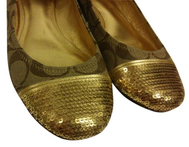 Item - Gold Khaki Poppy Sequined Monogram Flats Size US 8.5 Regular (M, B)