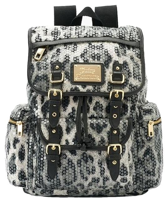 Item - Sequins Leopard Black/White /Faux Leather Backpack