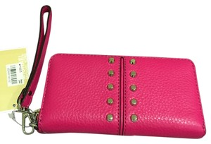Michael Kors Michael Kors Astor Chain Large Coin Multifunction Wallet Case Raspberry Pink Leather Studded New