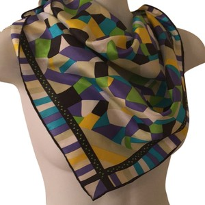Geometric silk square head neck scarf 21 x 21 Silk Geometric Square Scarf