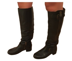 Anthropologie Motorcycle Moto Tall Leather Black Boots