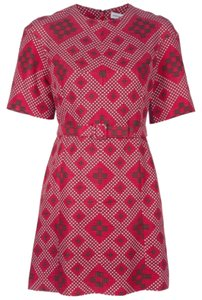 Jonathan Saunders Emile Red Shift Size 10 Emile Rivet Geometric Texture Pattern Red Pink Brown Sold Out Globally Round Neck Removable Dress