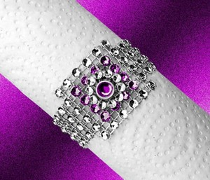 100 Silver New Never Used Bling Napkin Rings W Layered Purple Jewel Center Only 79 Cents Each Free Shipping